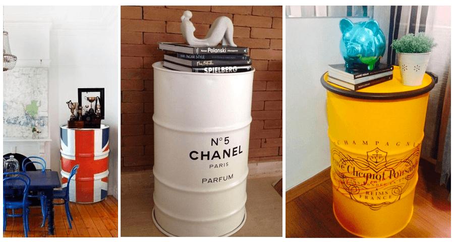 aparador de tambor decorativo vintage