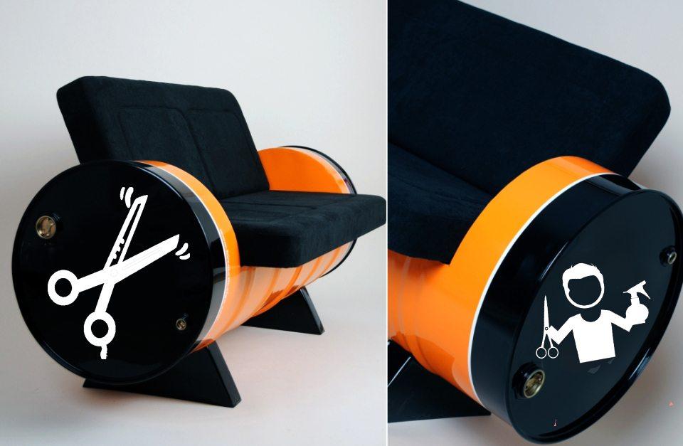 sofá tambor para cabeleireiro