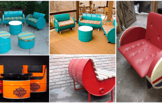 Jogo de Mesa e Sofa de tambor decorativo